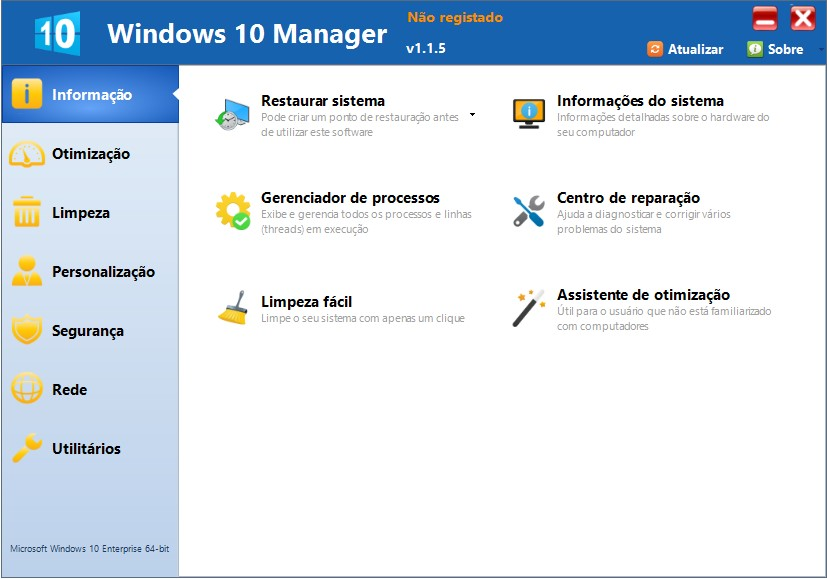 windows 10 manager tela inicial